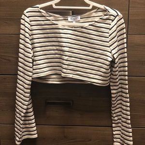 Sabo Skirt White and Navy Striped Long sleeve top